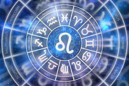 Zodiac Leo symbol inside of horoscope circle - astrology and horoscopes concept