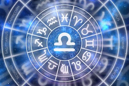 Zodiac Libra symbol inside of horoscope circle - astrology and horoscopes concept Stock Photo