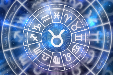 Zodiac Taurus symbol inside of horoscope circle - astrology and horoscopes concept