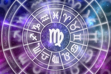 Zodiac Virgo symbol inside of horoscope circle - astrology and horoscopes concept