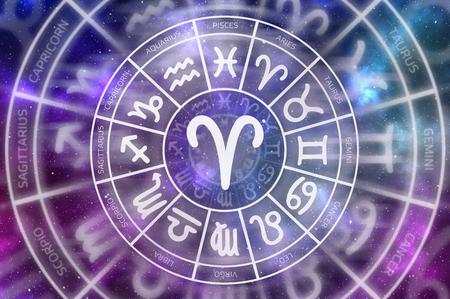 Zodiac Aries symbol inside of horoscope circle - astrology and horoscopes concept Stock Photo