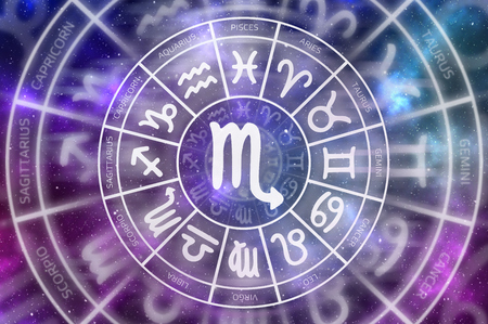 Zodiac Scorpio symbol inside of horoscope circle - astrology and horoscopes concept