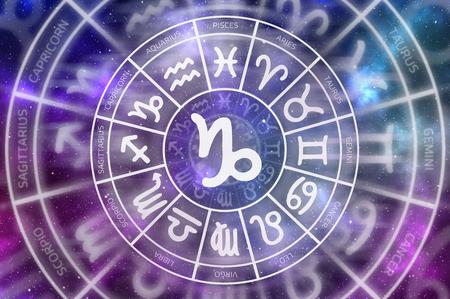 Zodiac Capricorn symbol inside of horoscope circle - astrology and horoscopes concept
