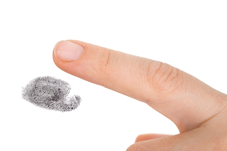 Fingerprint isolated on white - biometric and security concept Banco de Imagens