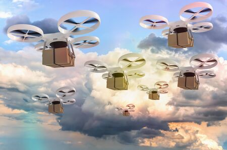 Many drones is delivering packages - fast mail concept. 3D rendered illustration. 写真素材