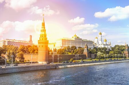 View from the bridge to the Kremlin in Moscow, Russia
