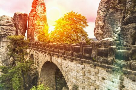 Bastei bridge in Saxon Switzerland in summer, Germany 스톡 콘텐츠