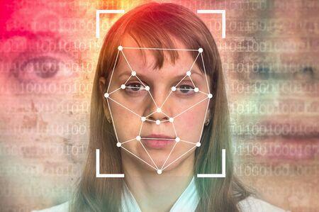 Woman face recognition - biometric verification concept 스톡 콘텐츠