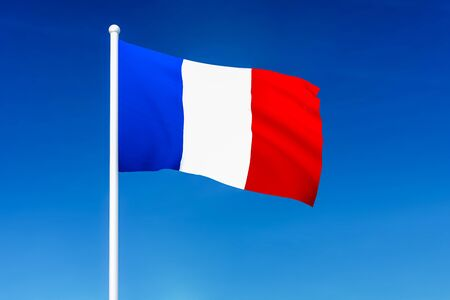 Waving flag of France on the blue sky background - 3D rendered