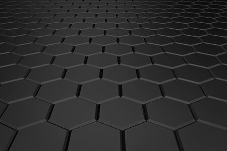 Black hexagon pattern - honeycomb concept. 3D Rendering.