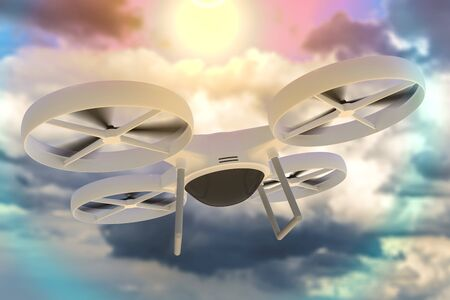 Flying drone in the blue sky. 3D rendered illustration.