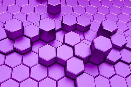 Purple hexagon pattern - honeycomb concept. 3D Rendering.