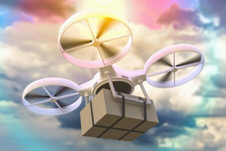 Drone, quad copter is delivering package. 3D rendered illustration. 写真素材