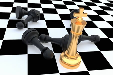 Golden King and many fallen pawns around - chess leadership concept. 3D rendered illustration. Reklamní fotografie
