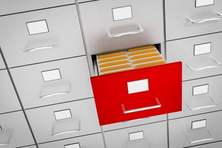 Filing cabinet with yellow folders in an open drawer - data collection concept. 3D rendered illustration. Stock Photo