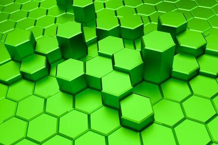 Green hexagon pattern - honeycomb concept. 3D Rendering.