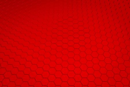 Red hexagon pattern - honeycomb concept. 3D Rendering.