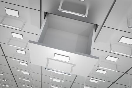 Open empty drawer of cabinet - business and administration concept. 3D rendered illustration.