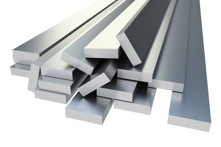 Steel metal profiles in corner shape isolated on white - industry concept. 3D rendered illustration. Banco de Imagens