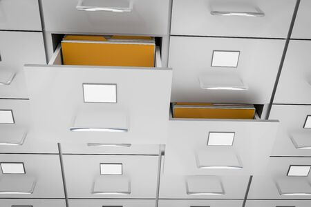 Filing cabinet with yellow folders in an open drawers - data collection concept. 3D rendered illustration.