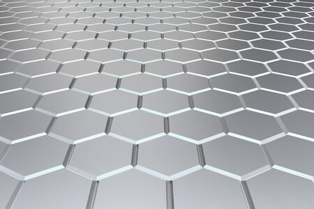 Silver hexagon pattern - honeycomb concept. 3D Rendering.