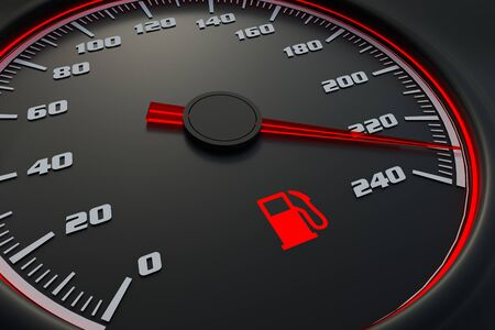 Red fuel level light on car dashboard. 3D rendered illustration. Stock Photo