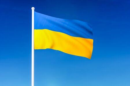 Waving flag of Ukraine on the blue sky background - 3D rendered 写真素材