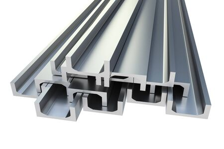 Steel metal profiles in u-bar shape isolated on white - industry concept. 3D rendered illustration.