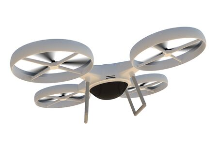 Flying quad copter (drone) isolated on white background. 3D rendered illustration. 写真素材