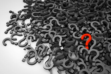 Red question mark on background of black question marks. 3D rendered illustration.