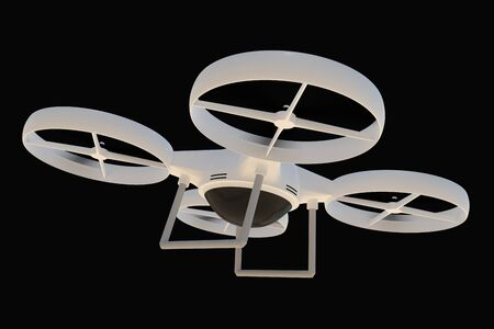 Flying quad copter (drone) isolated on black background. 3D rendered illustration. 写真素材