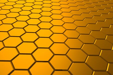 Golden hexagon pattern - honeycomb concept. 3D Rendering.
