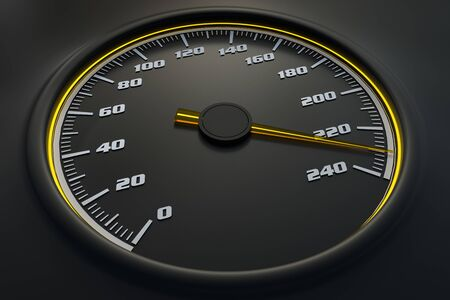 Yellow speedometer in car on dashboard. 3D rendered illustration. 写真素材