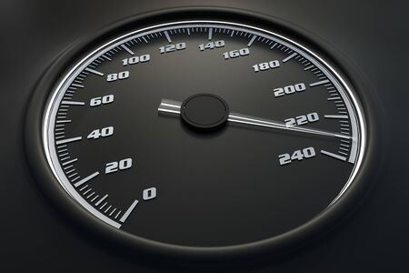 White speedometer in car on dashboard. 3D rendered illustration. 写真素材