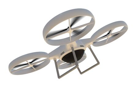 Flying quad copter (drone) isolated on white background. 3D rendered illustration. Banco de Imagens