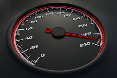 Red speedometer in car on dashboard. 3D rendered illustration. 写真素材