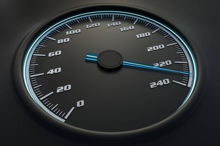 Blue speedometer in car on dashboard. 3D rendered illustration. 写真素材