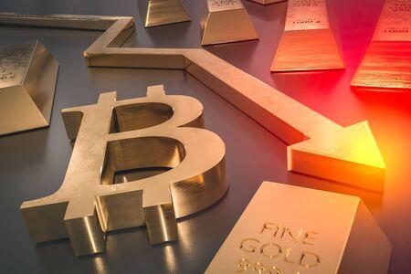 Golden bitcoin symbol and golden arrow down - bitcoin money fall concept. 3D rendered illustration.