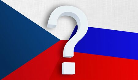 Relationship between the Czech Republic and the Russia. Two flags of countries on background. 3D rendered illustration.