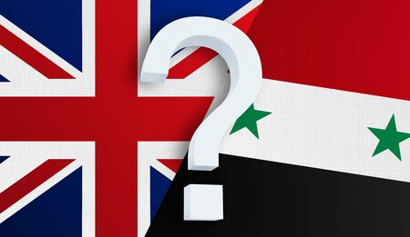 Relationship between the United Kingdom and the Syria. Two flags of countries on background. 3D rendered illustration.