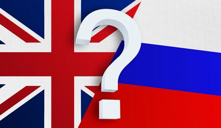 Relationship between the United Kingdom and the Russia. Two flags of countries on background. 3D rendered illustration.