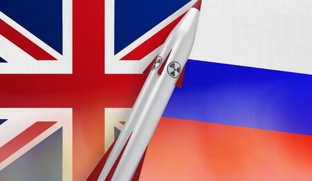 Nuclear missile of United Kingdom and Russia on flags background. 3D rendered illustration.
