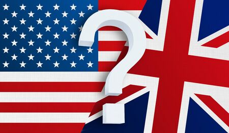 Relationship between the USA and the United Kingdom. Two flags of countries on background. 3D rendered illustration.