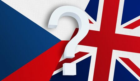 Relationship between the Czech Republic and the United Kingdom. Two flags of countries on background. 3D rendered illustration.