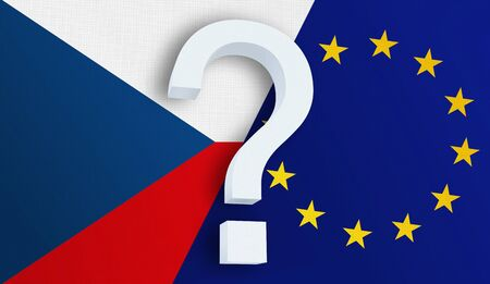 Relationship between the Czech Republic and the European Union. Two flags of countries on background. 3D rendered illustration. Stockfoto