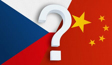 Relationship between the Czech Republic and the China. Two flags of countries on background. 3D rendered illustration.