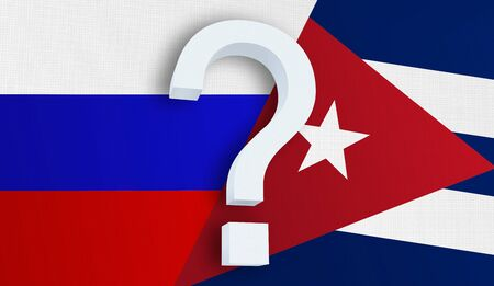 Relationship between the Russia and the Cuba. Two flags of countries on background. 3D rendered illustration.