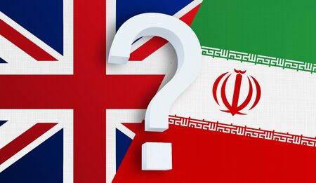 Relationship between the United Kingdom and the Iran. Two flags of countries on background. 3D rendered illustration.