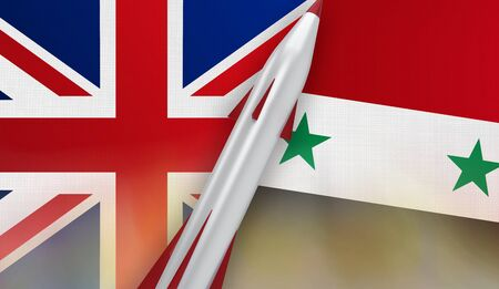 Missile of United Kingdom and Syria on flags background. 3D rendered illustration.