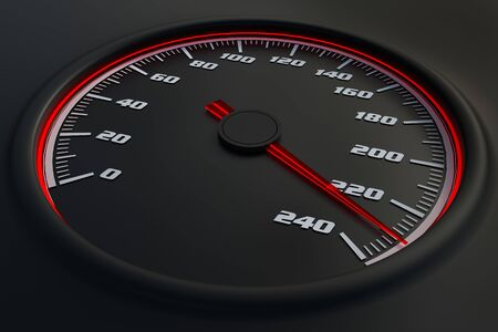 Red speedometer in car on dashboard. 3D rendered illustration. Stok Fotoğraf